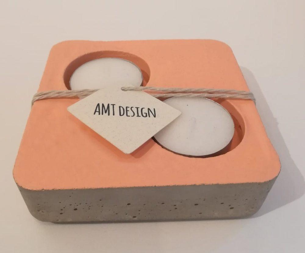 bougeoir, béton, ciment, saumon, amt design, bougie