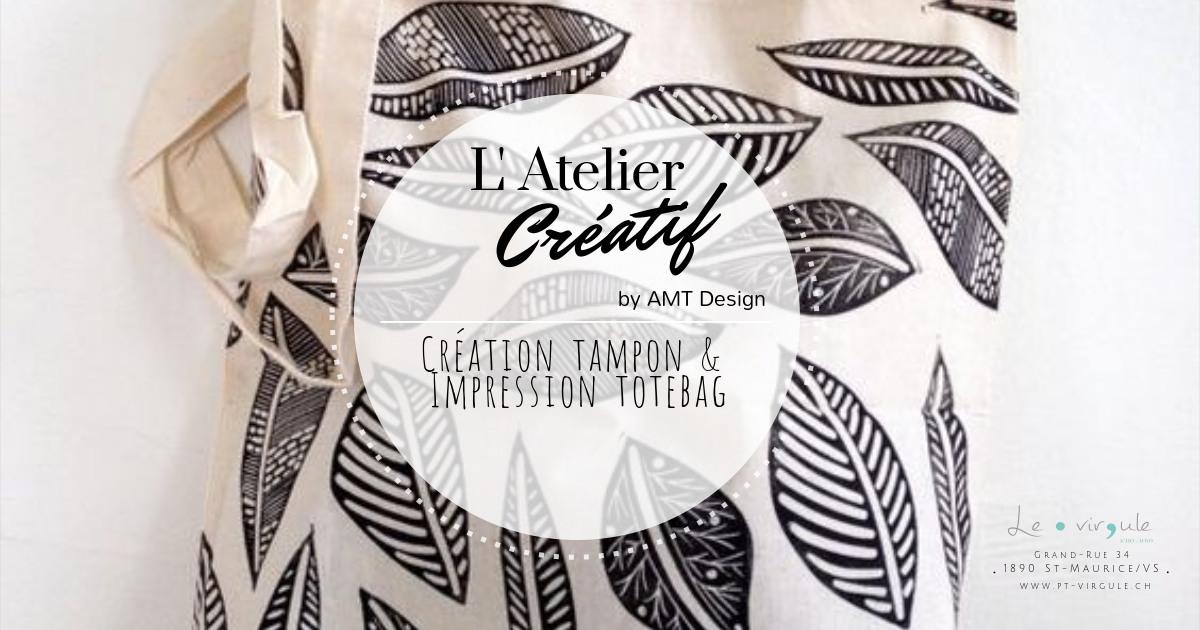 Atelier création tampon et impression totebag