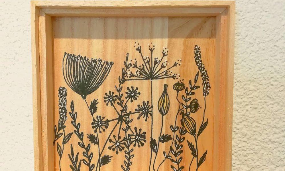 illustration, fleurs, posca, bois, amt design, suisse, création, fait-main