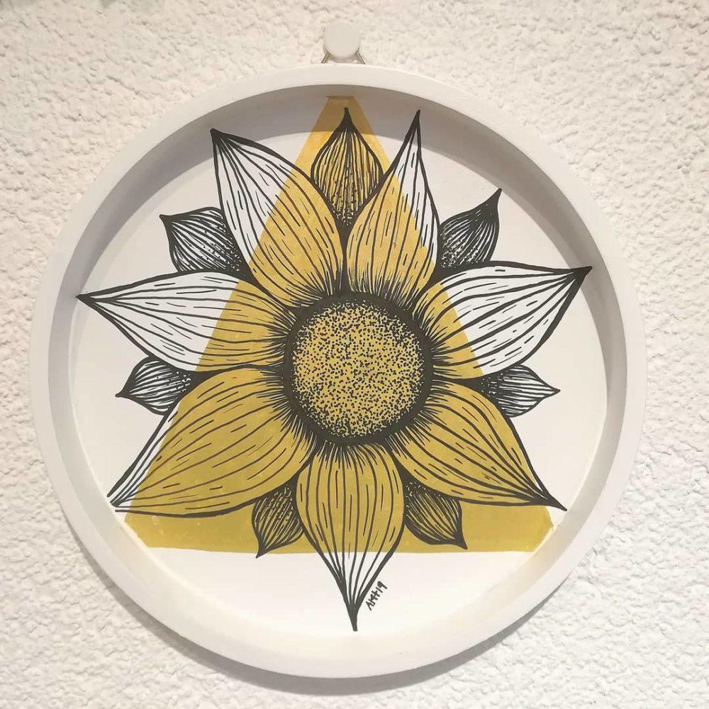 fleur, or, posca, illustration, décoration murale, amt design, le point virgule, st-maurice, suisse