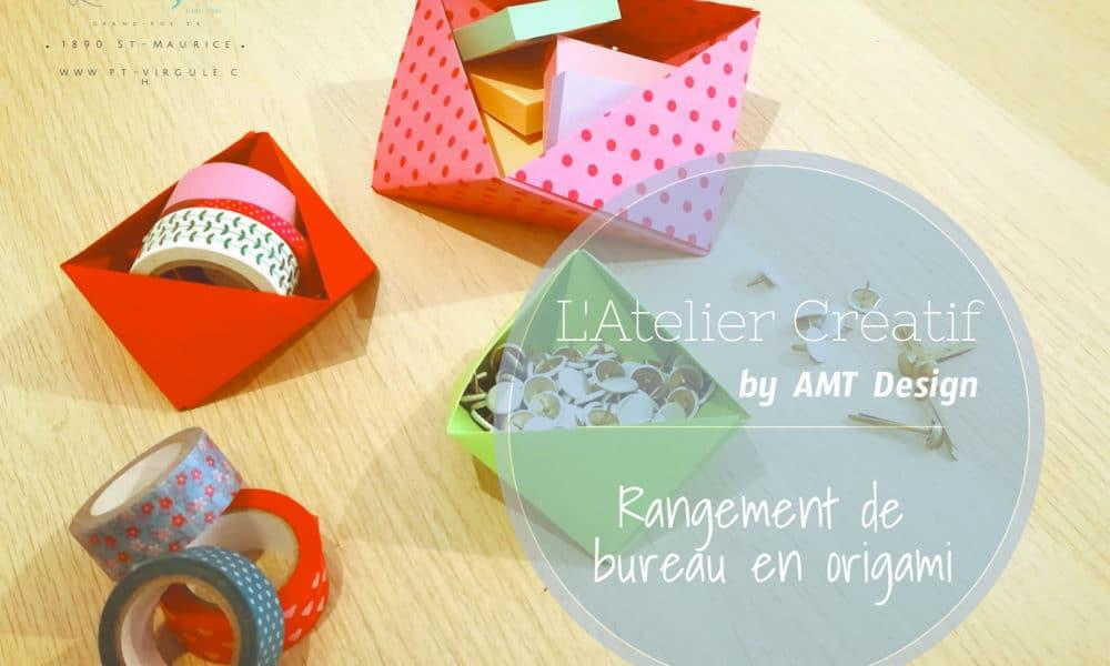 boîtes de rangement bureau en origami