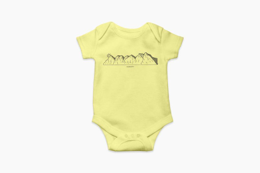 """Body bébé jaune pastel """"Dents-du-Midi"""""""