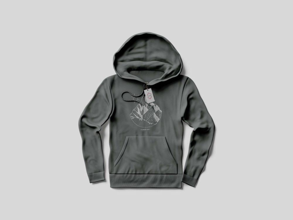Sweat-shirt à capuche gris Cime de l'Est