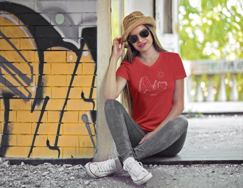 Pierre Avoi - T-shirt femme rouge